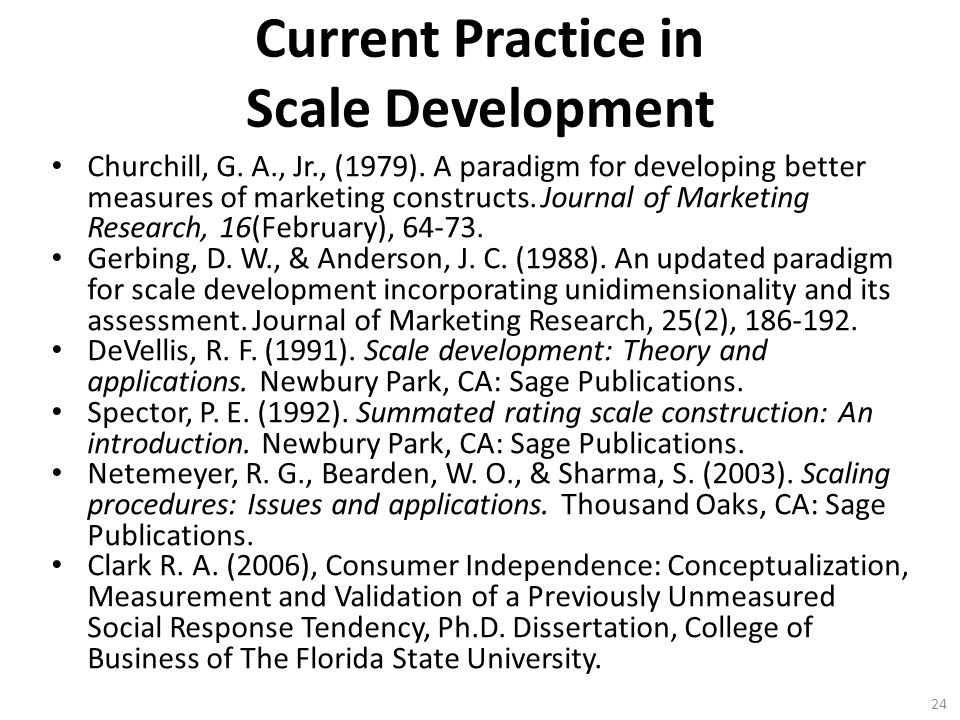 Current Practice in Scale Development