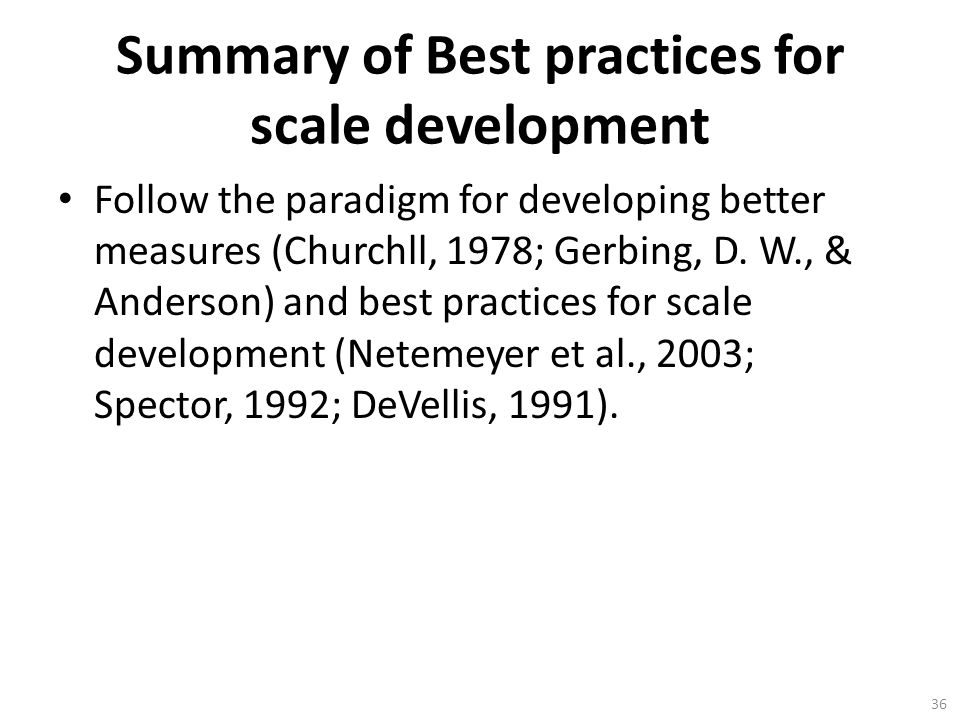 Summary of Best practices for scale development