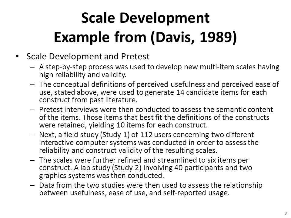 Scale Development Example from (Davis, 1989)