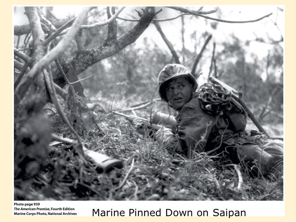 Marine Pinned Down on Saipan