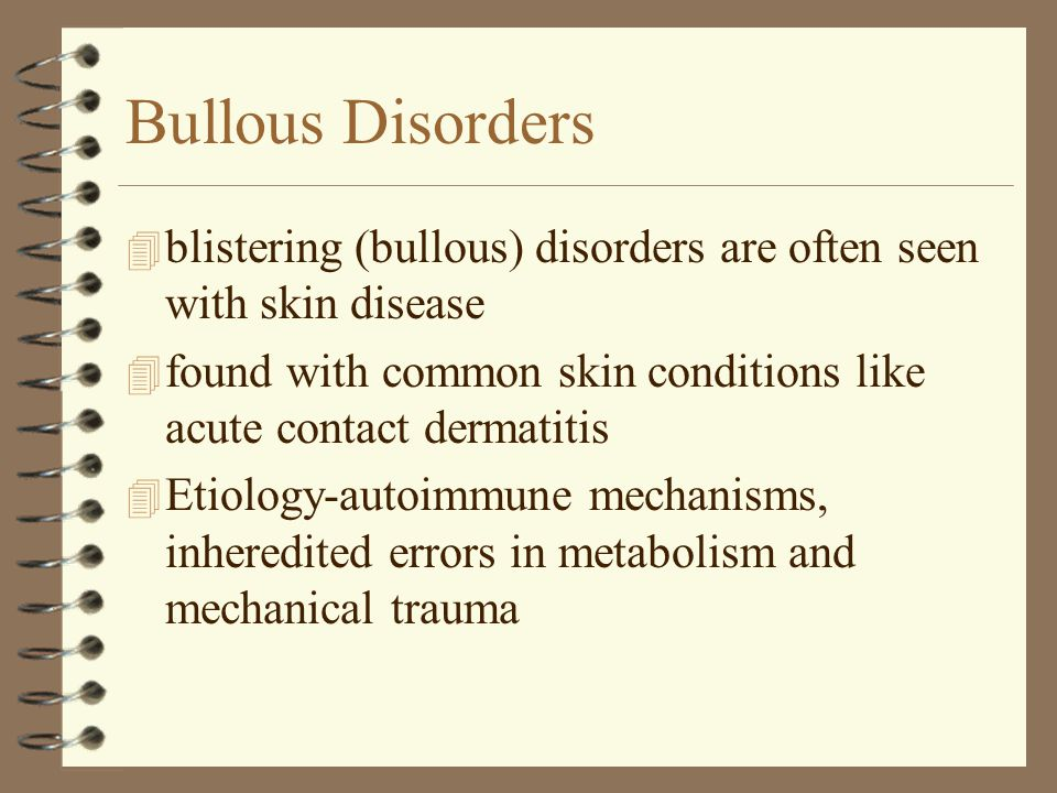 Bullous Disorders blistering (bullous) disorders are often seen with skin disease. found with common skin conditions like acute contact dermatitis.