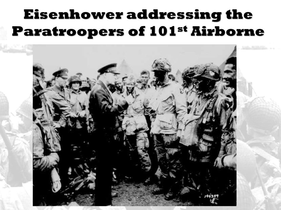 Eisenhower addressing the Paratroopers of 101st Airborne