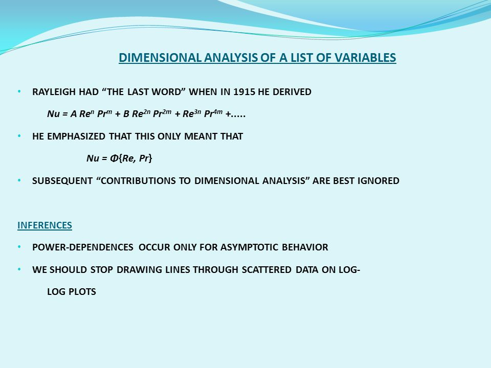 DIMENSIONAL ANALYSIS OF A LIST OF VARIABLES