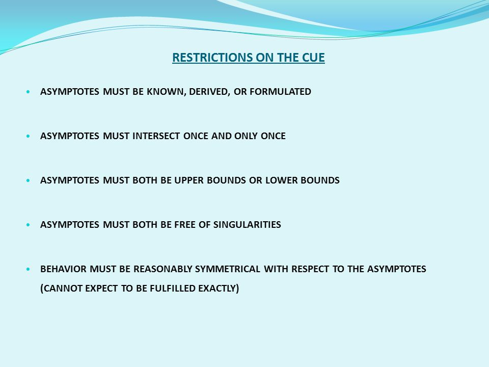 RESTRICTIONS ON THE CUE