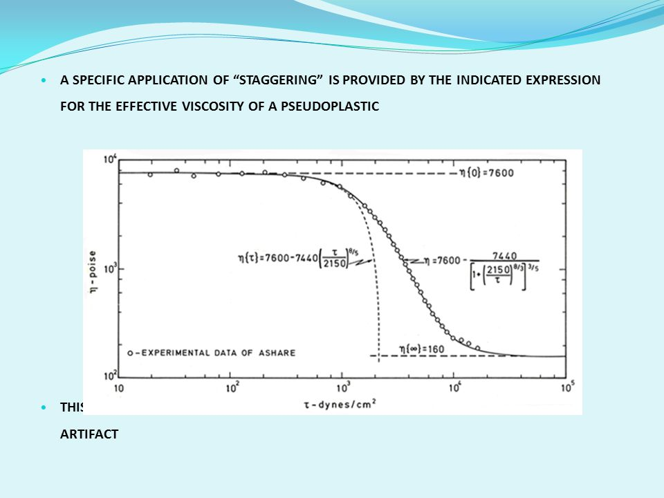 A SPECIFIC APPLICATION OF STAGGERING IS PROVIDED BY THE INDICATED EXPRESSION FOR THE EFFECTIVE VISCOSITY OF A PSEUDOPLASTIC