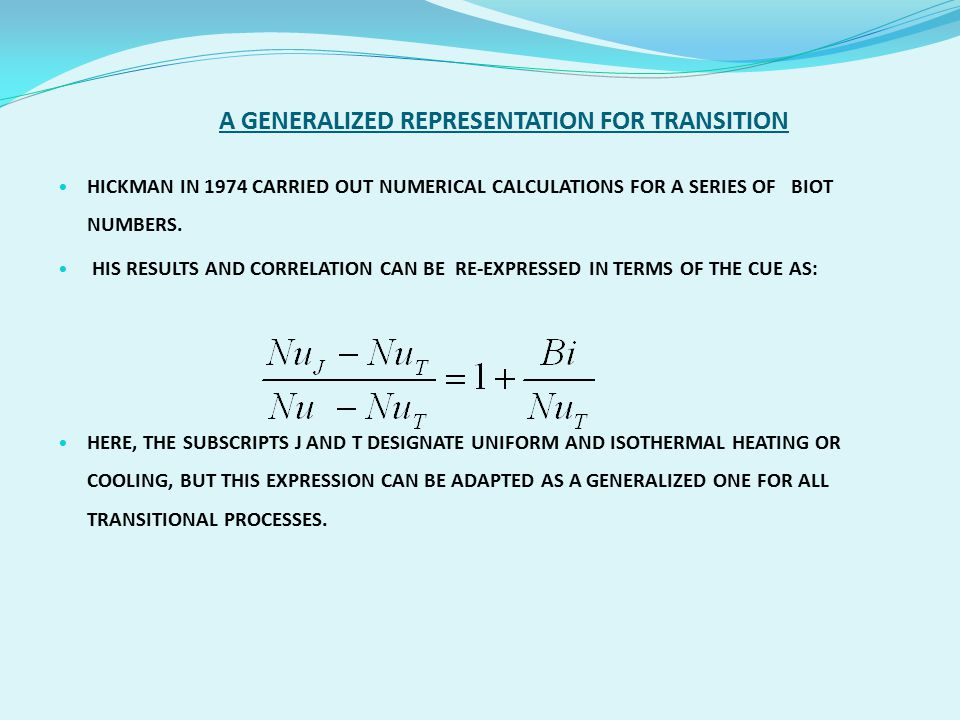 A GENERALIZED REPRESENTATION FOR TRANSITION