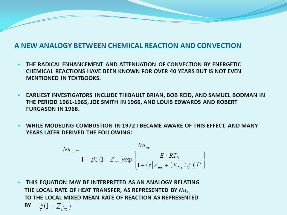 A NEW ANALOGY BETWEEN CHEMICAL REACTION AND CONVECTION
