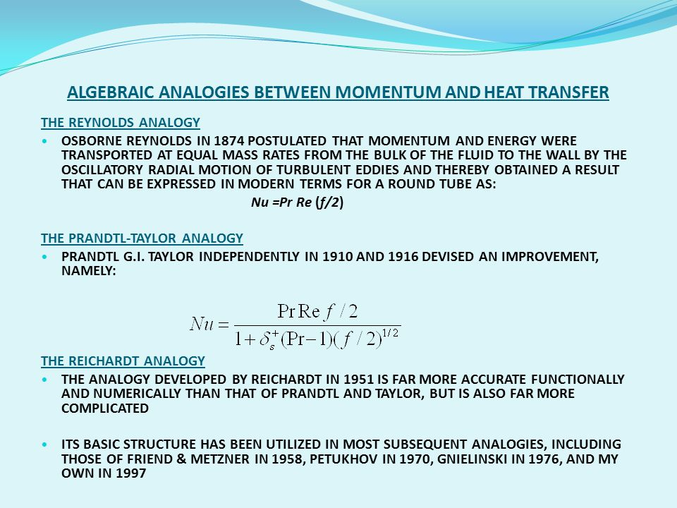 ALGEBRAIC ANALOGIES BETWEEN MOMENTUM AND HEAT TRANSFER