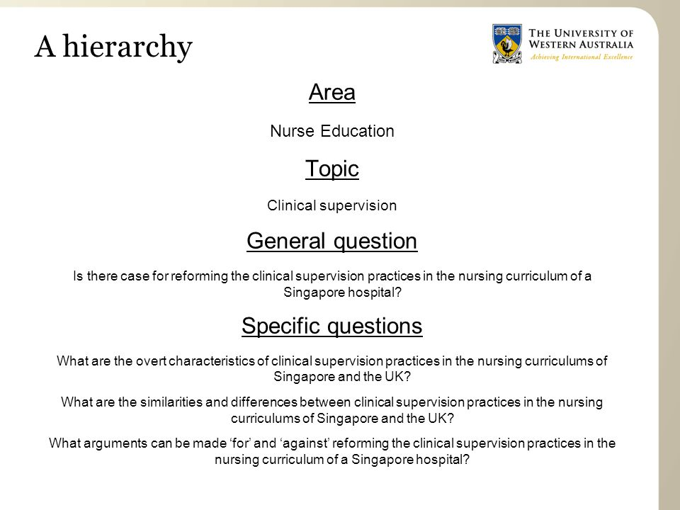 A hierarchy Area Topic General question Specific questions