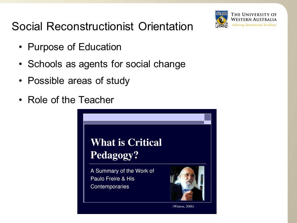 Social Reconstructionist Orientation