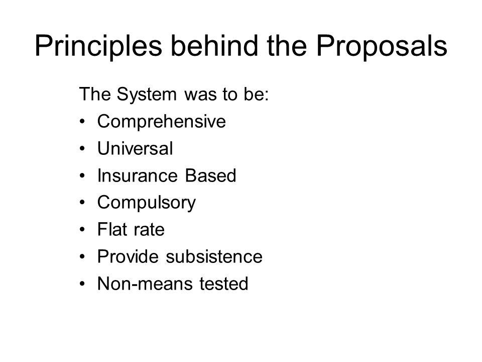 Principles behind the Proposals