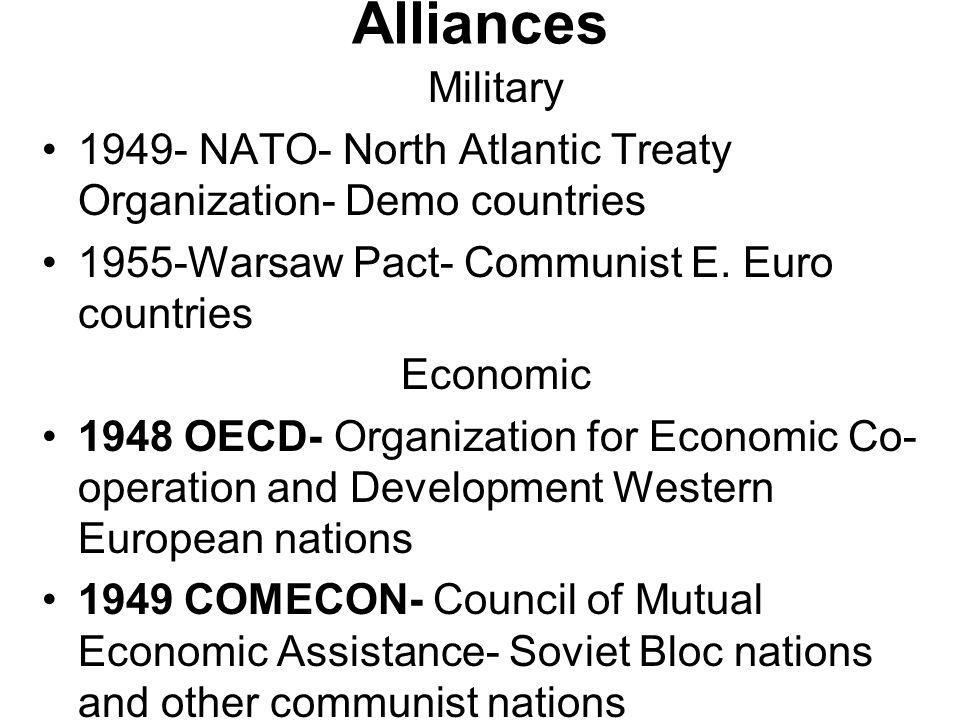 Alliances Military. 1949- NATO- North Atlantic Treaty Organization- Demo countries. 1955-Warsaw Pact- Communist E. Euro countries.