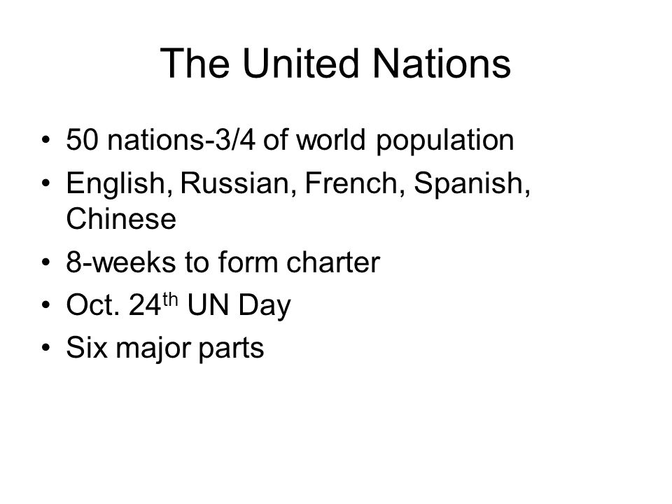 The United Nations 50 nations-3/4 of world population