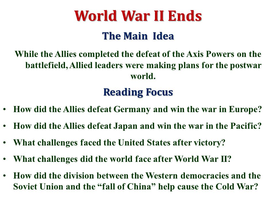 The emergency of two superpowers after the end of ww2