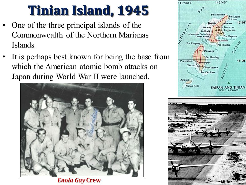 Tinian Island, 1945 One of the three principal islands of the Commonwealth of the Northern Marianas Islands.
