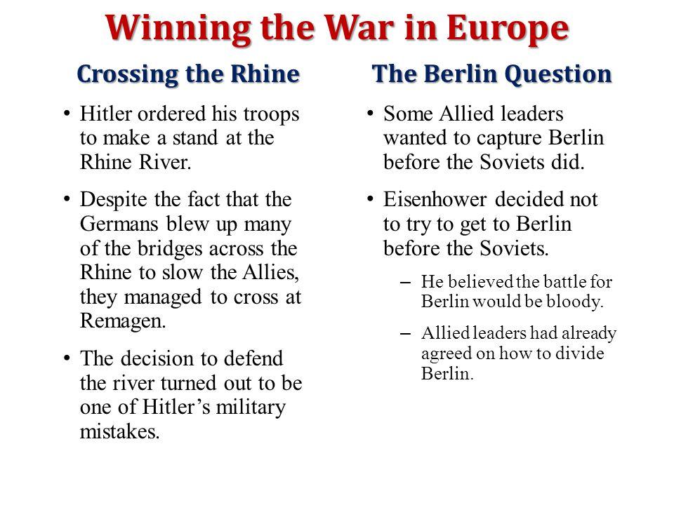 Winning the War in Europe