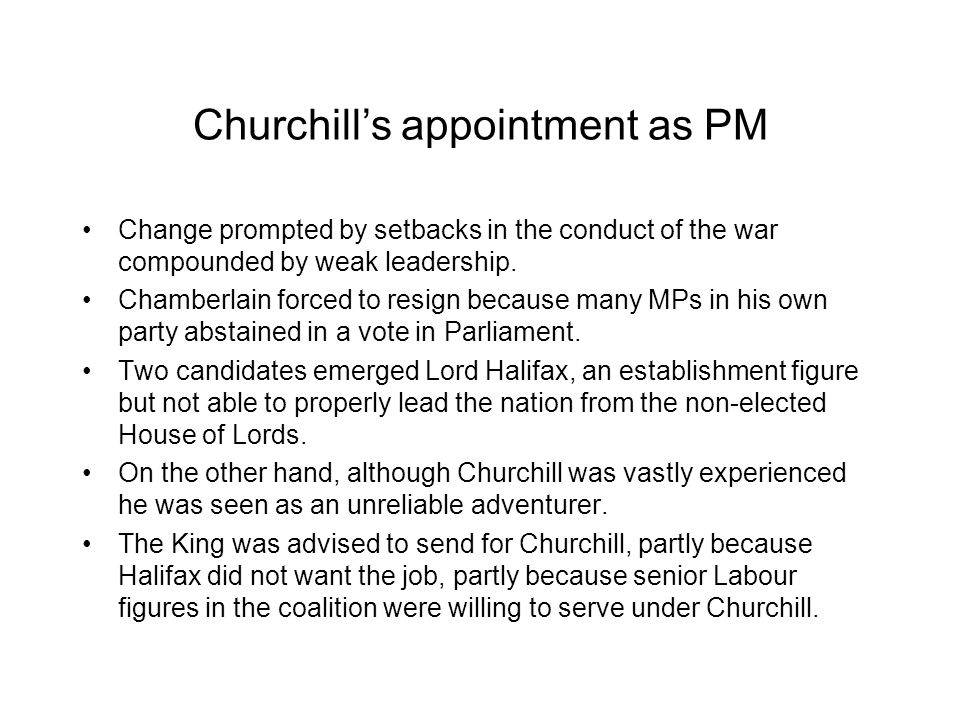 Churchill's appointment as PM