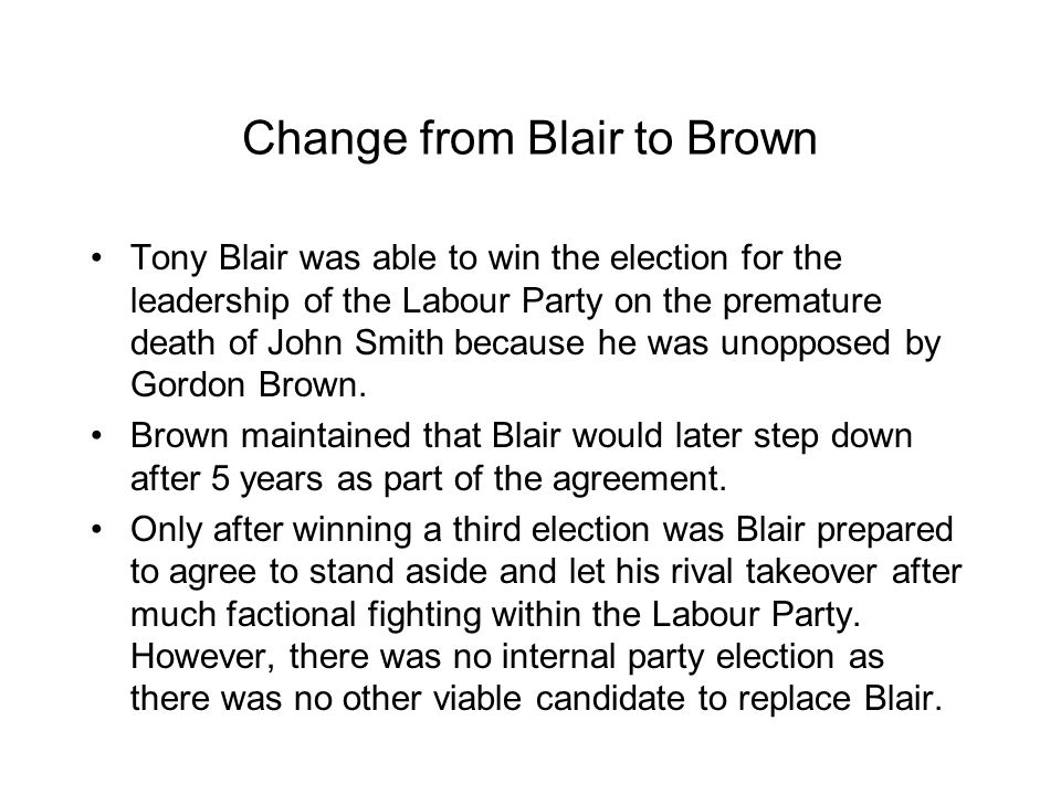 Change from Blair to Brown
