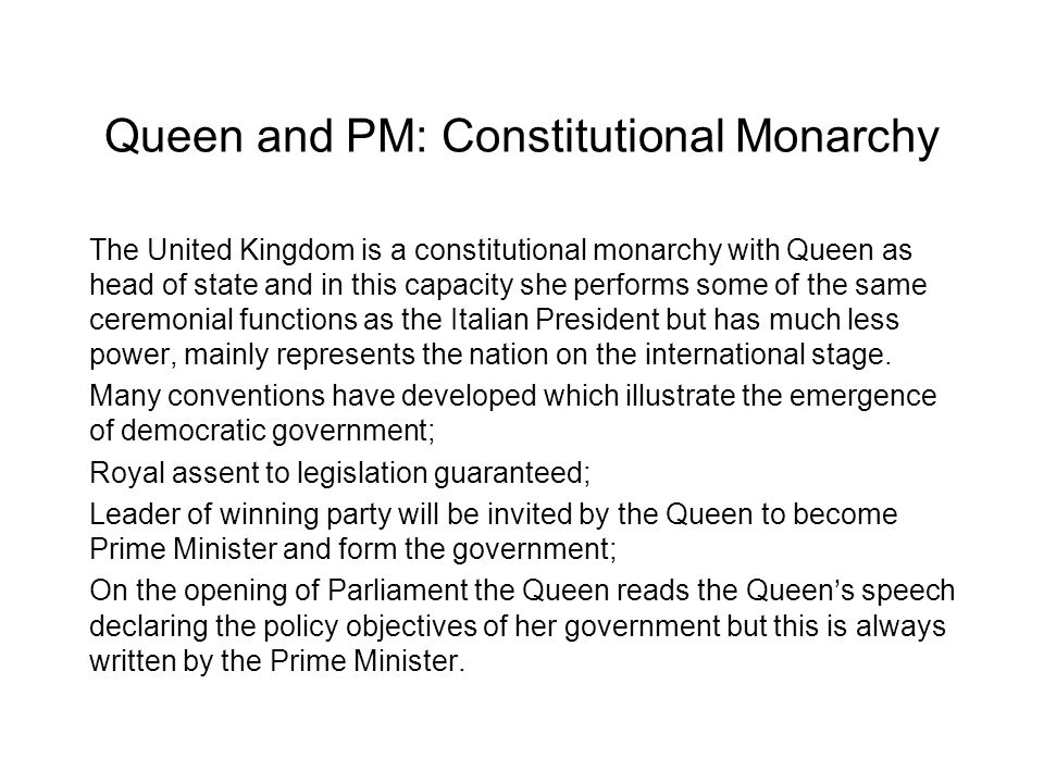 Queen and PM: Constitutional Monarchy