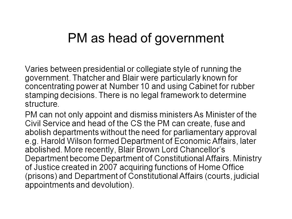 PM as head of government