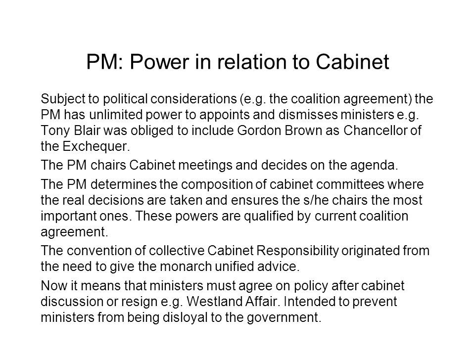 PM: Power in relation to Cabinet
