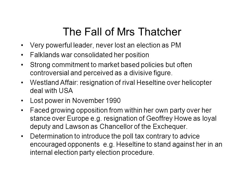The Fall of Mrs Thatcher