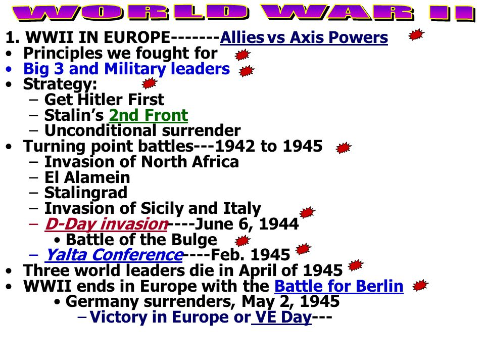 WORLD WAR II 1. WWII IN EUROPE-------Allies vs Axis Powers