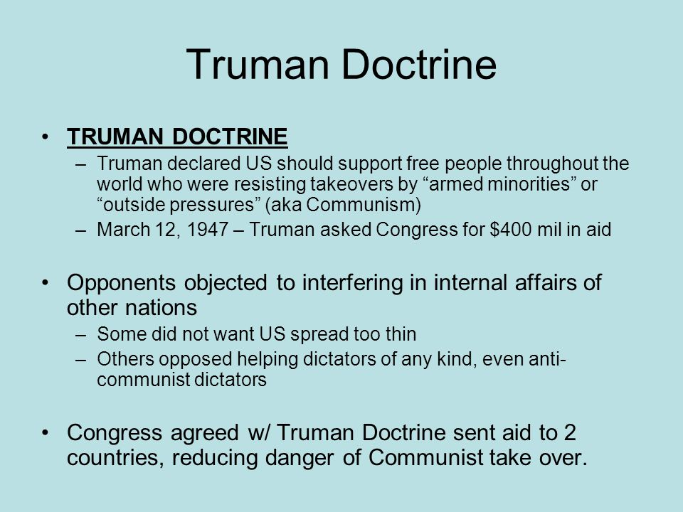 Truman Doctrine TRUMAN DOCTRINE