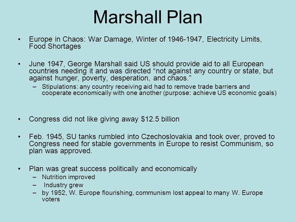 Marshall Plan Europe in Chaos: War Damage, Winter of 1946-1947, Electricity Limits, Food Shortages.