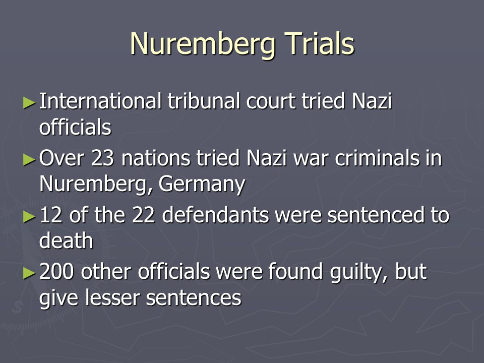 Nuremberg Trials International tribunal court tried Nazi officials