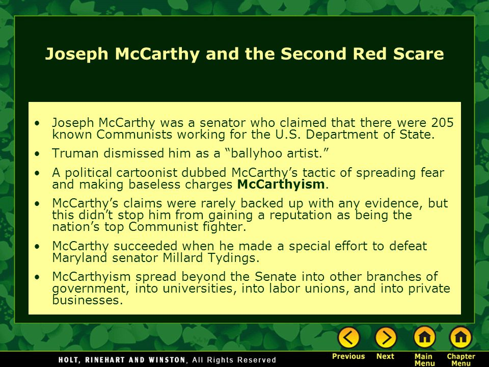 Joseph McCarthy and the Second Red Scare