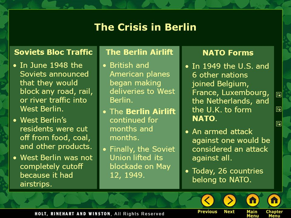 The Crisis in Berlin Soviets Bloc Traffic