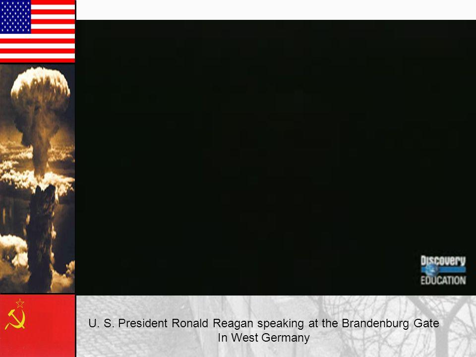 U. S. President Ronald Reagan speaking at the Brandenburg Gate