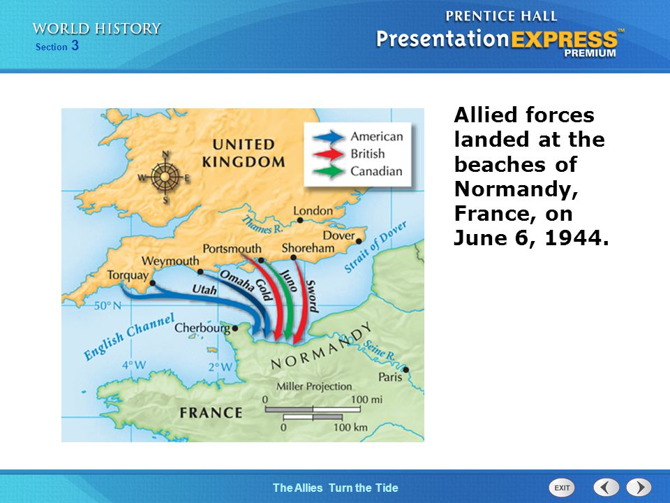 Allied forces landed at the beaches of Normandy, France, on June 6, 1944.
