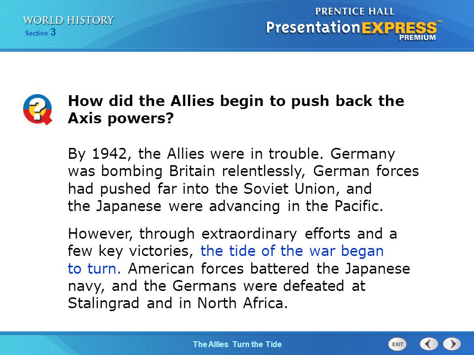 How did the Allies begin to push back the Axis powers