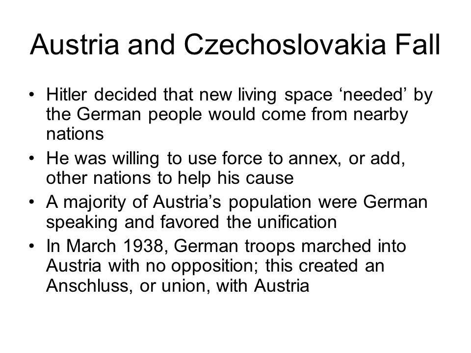 Austria and Czechoslovakia Fall