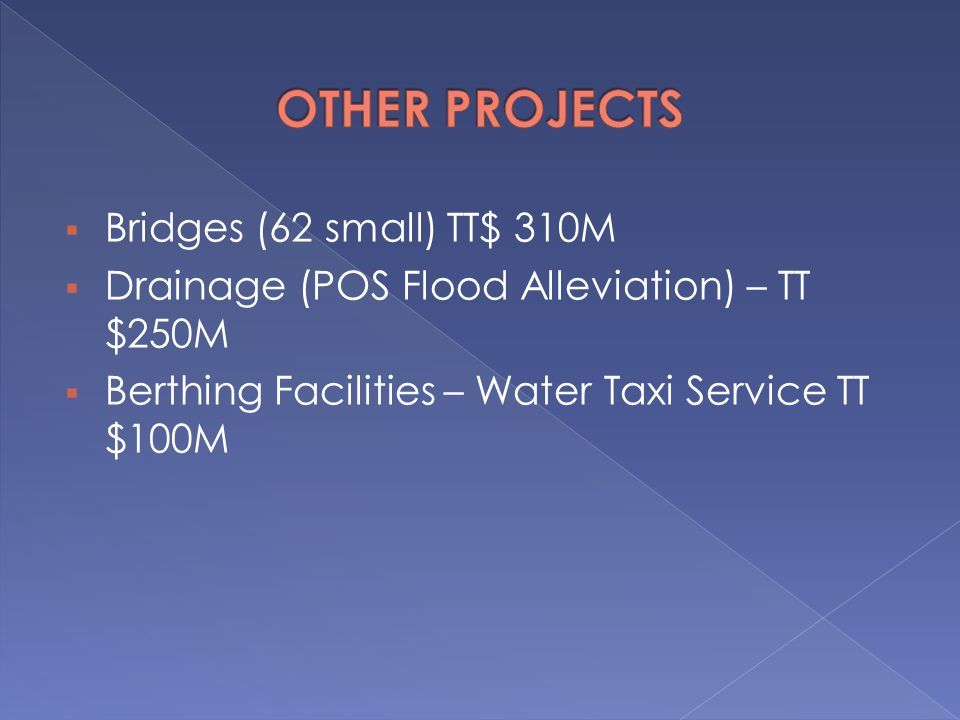 OTHER PROJECTS Bridges (62 small) TT$ 310M