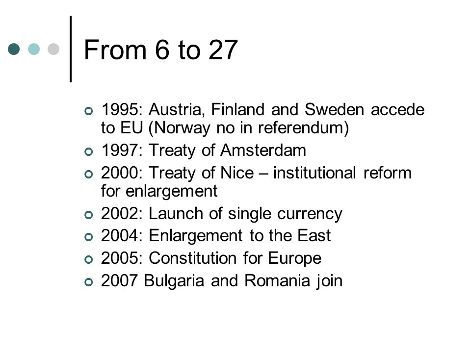 From 6 to 27 1995: Austria, Finland and Sweden accede to EU (Norway no in referendum) 1997: Treaty of Amsterdam.