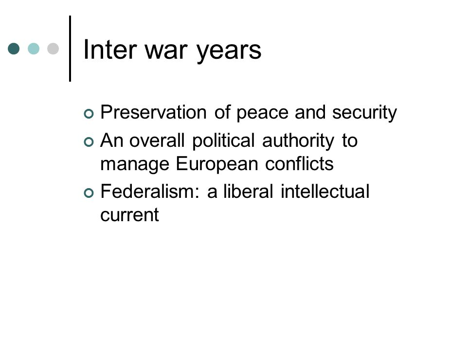 Inter war years Preservation of peace and security