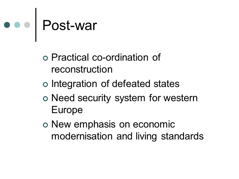Post-war Practical co-ordination of reconstruction