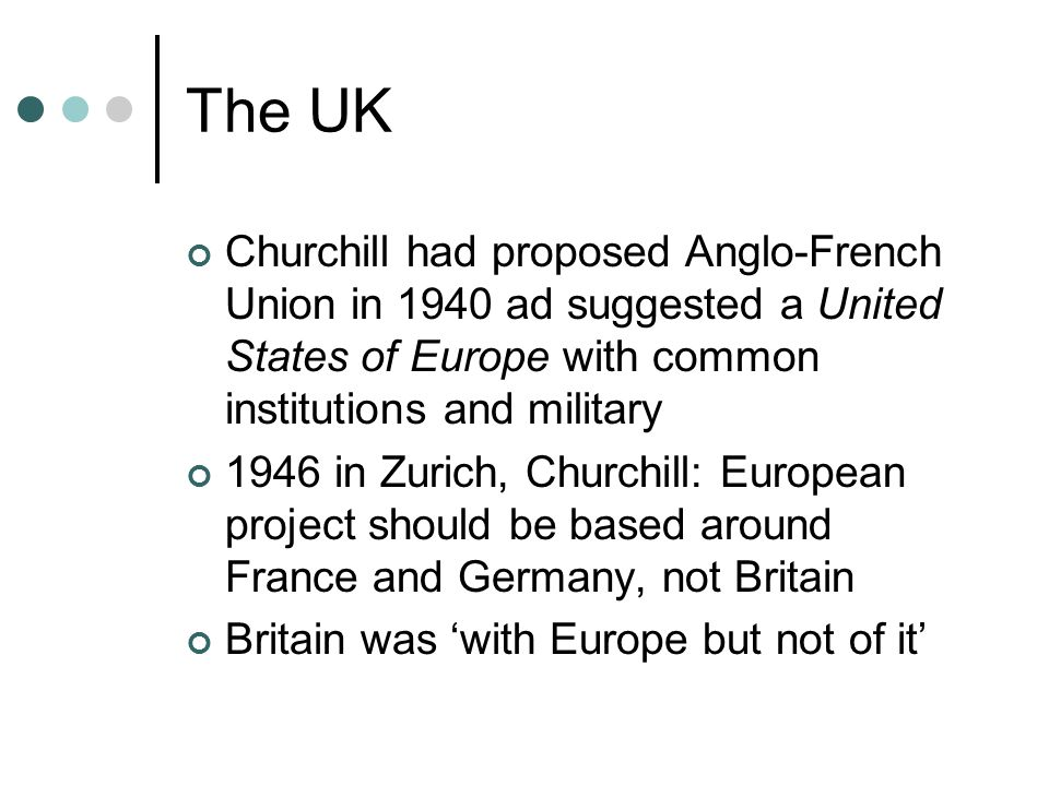 The UK Churchill had proposed Anglo-French Union in 1940 ad suggested a United States of Europe with common institutions and military.