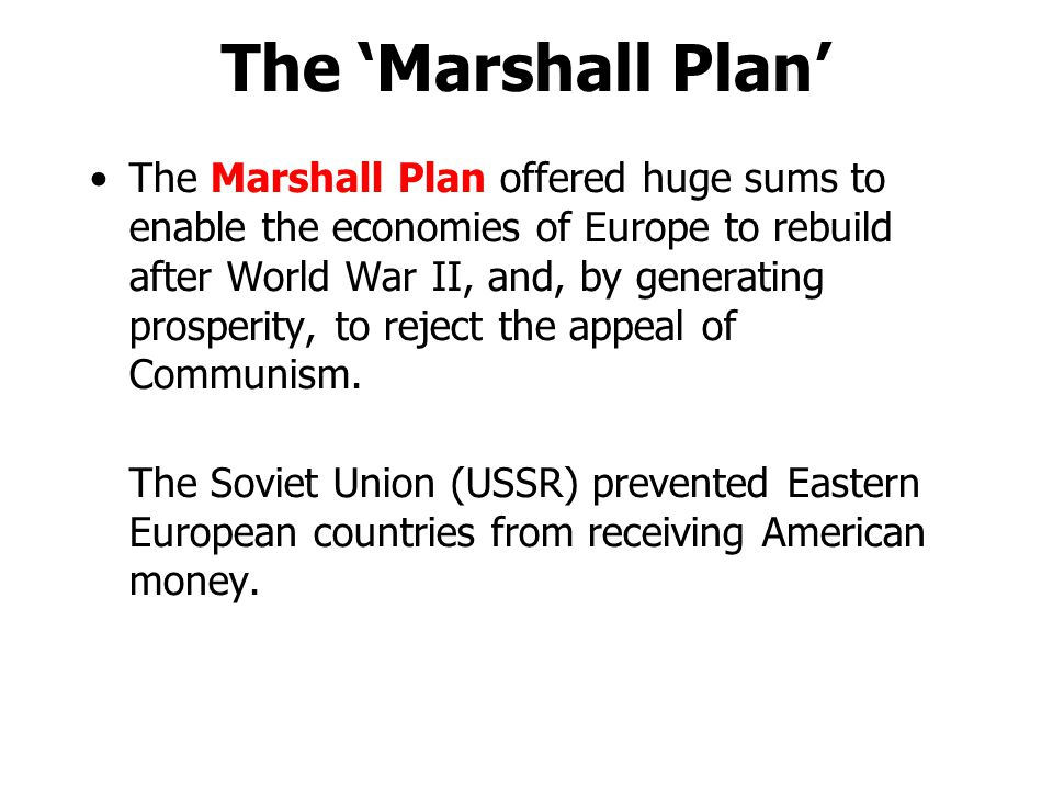 The 'Marshall Plan'