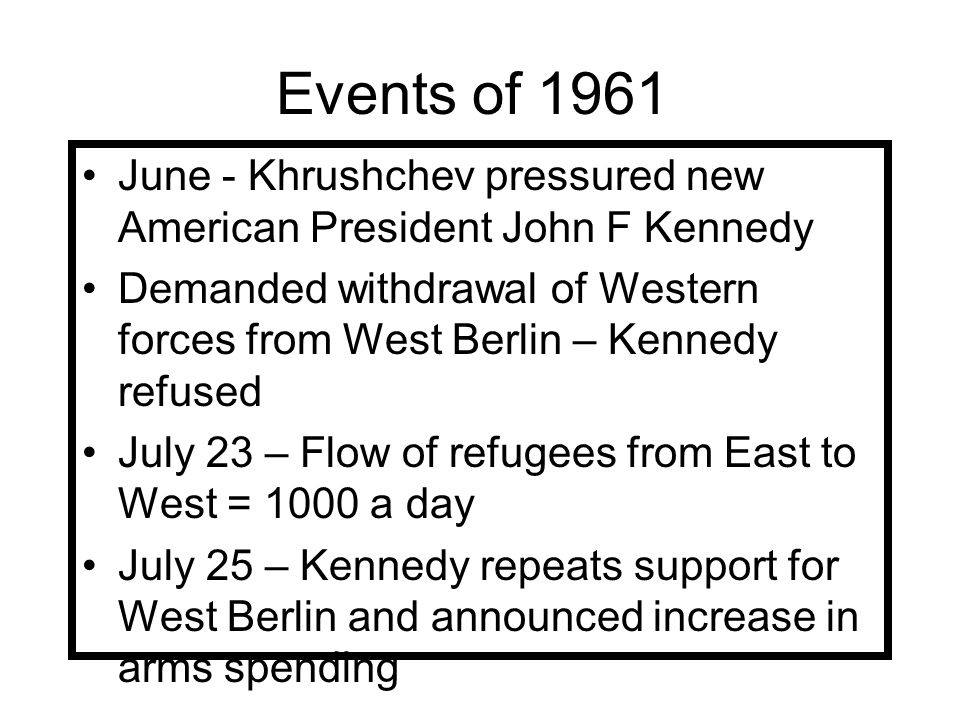Events of 1961 June - Khrushchev pressured new American President John F Kennedy.