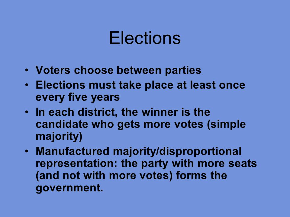Elections Voters choose between parties