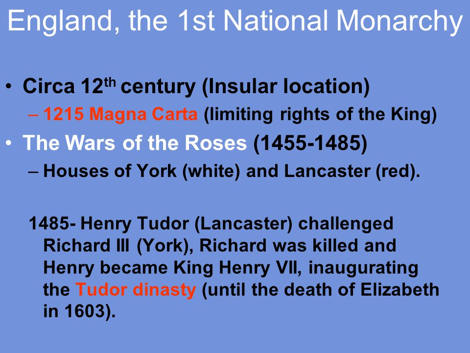 England, the 1st National Monarchy