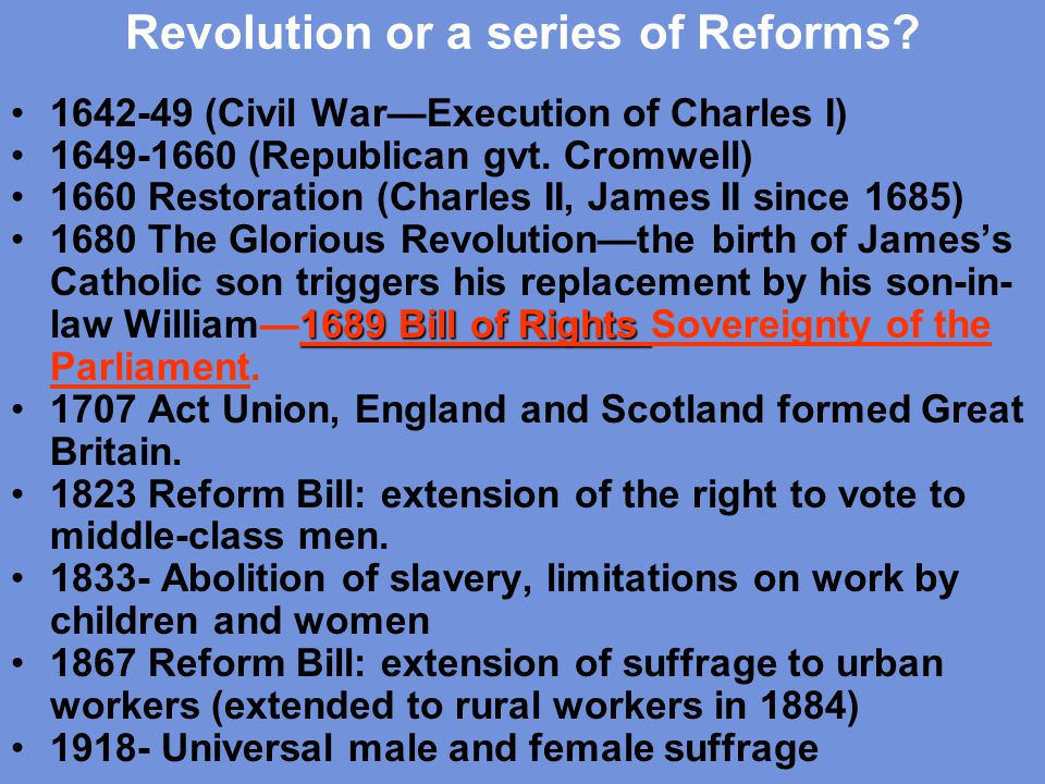 Revolution or a series of Reforms