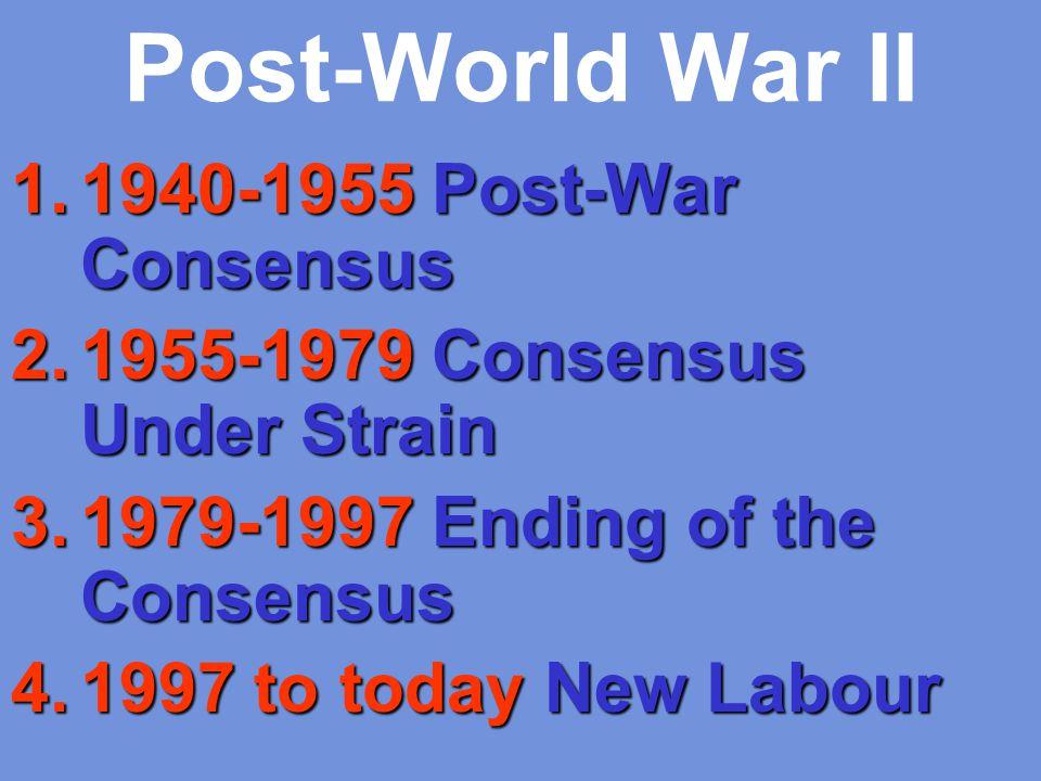Post-World War II 1940-1955 Post-War Consensus