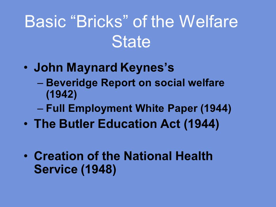 Basic Bricks of the Welfare State