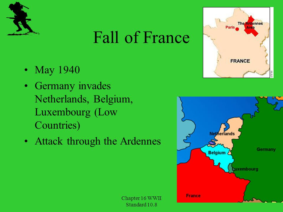 Fall of France May 1940. Germany invades Netherlands, Belgium, Luxembourg (Low Countries) Attack through the Ardennes.