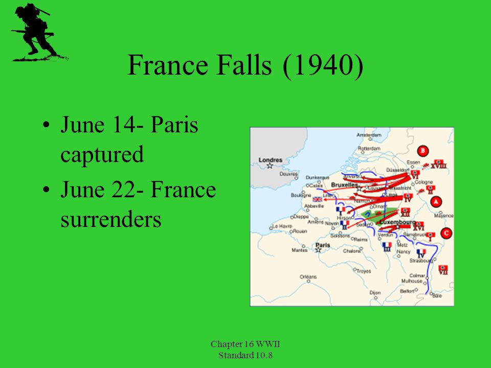 France Falls (1940) June 14- Paris captured June 22- France surrenders